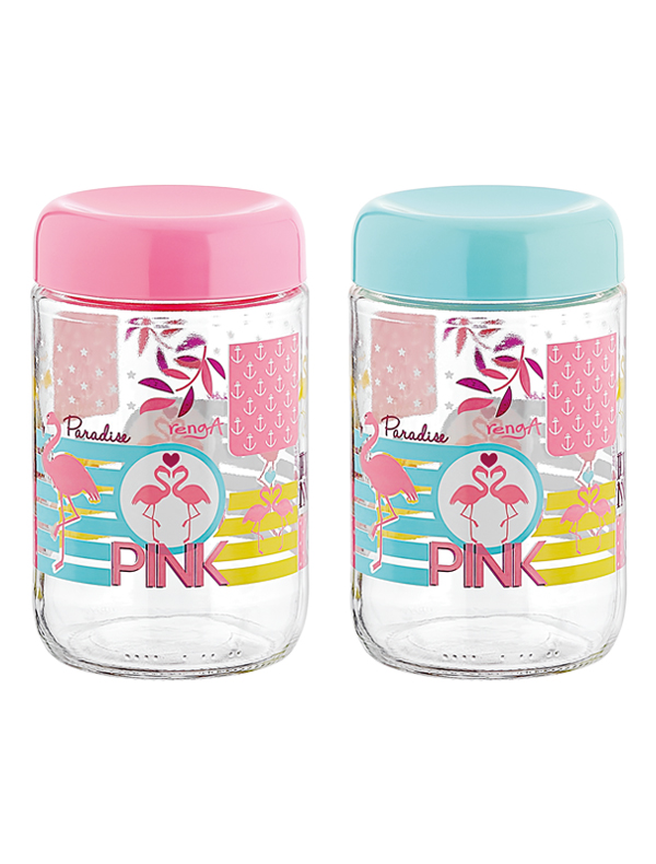 Flamingo Decorated Jar 660 cc