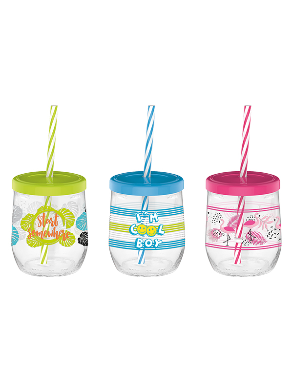 Tosca Decorated Glass Jar With Straw 300 cc