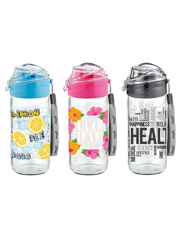 Luya Decorated Glass Water Bottle
