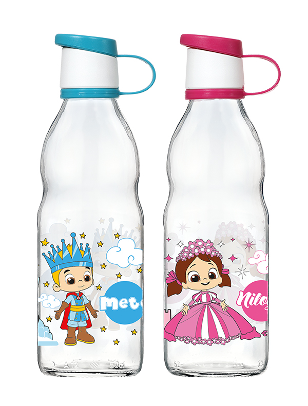 Niloya Decorated Glass Water Bottle 500 cc