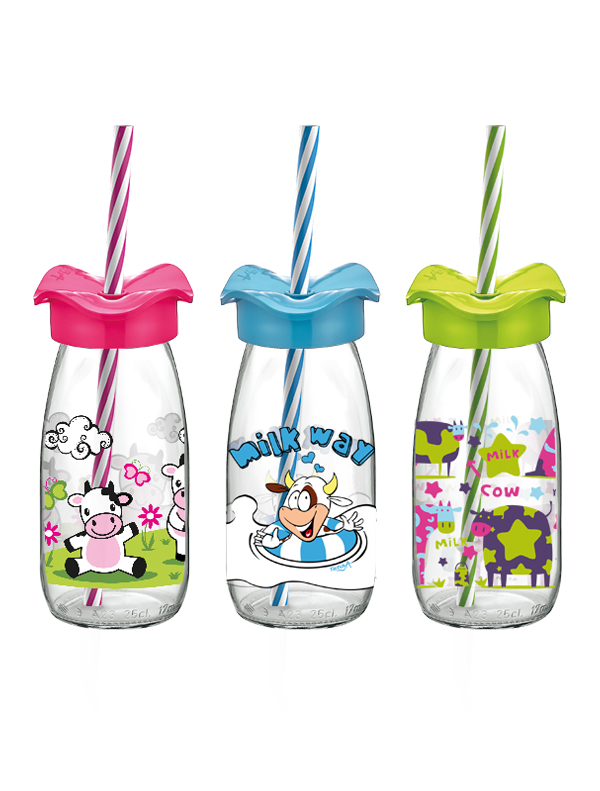 Fırfır Decorated Milk Bottle With Straw 250 cc