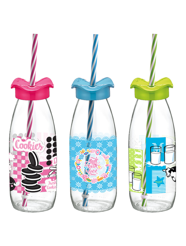 Fırfır Decorated Milk Bottle With Straw 500 cc