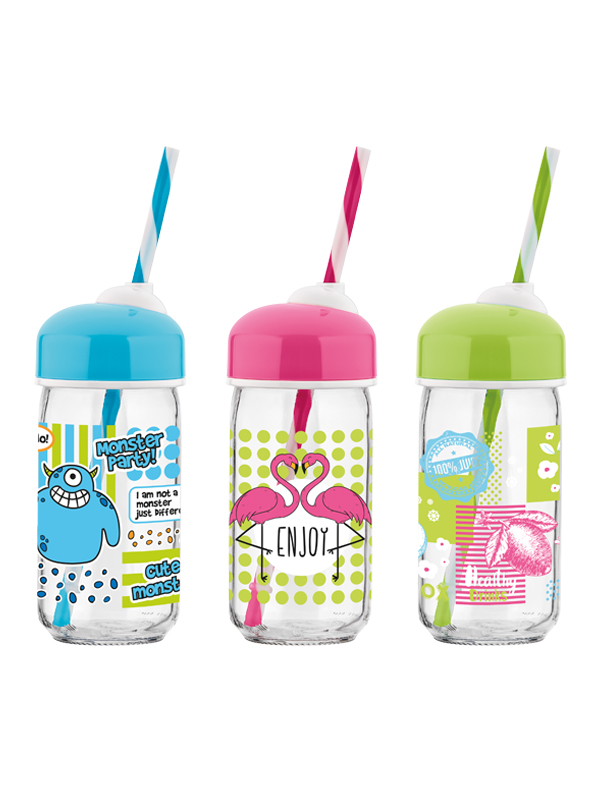 Bubble Decorated Bottle With Straw