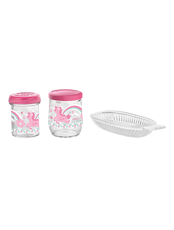 Tosca Set Decorated Glass Baby Feeding Set