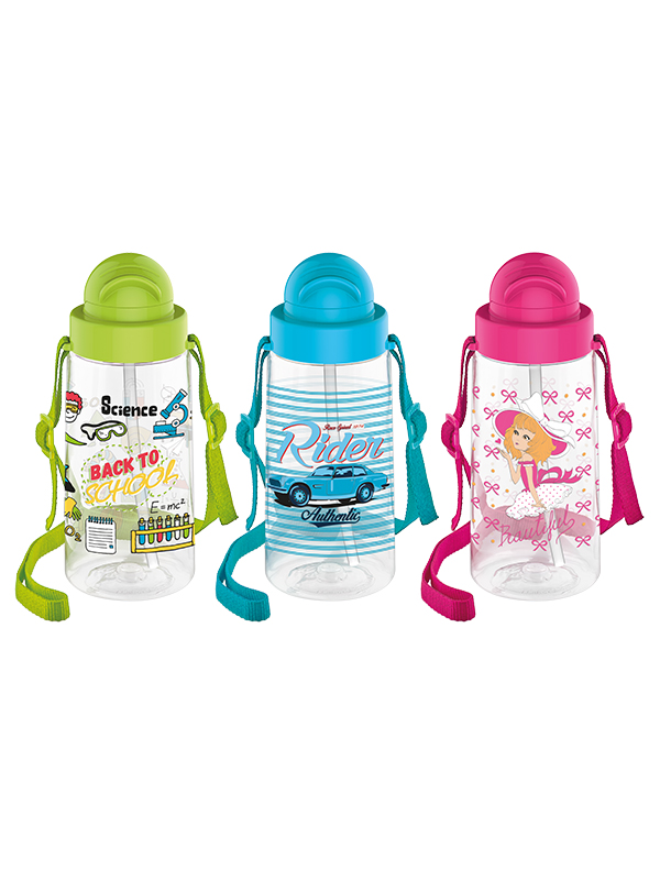 Migo Decorated Water Bottle With Straw 500 cc
