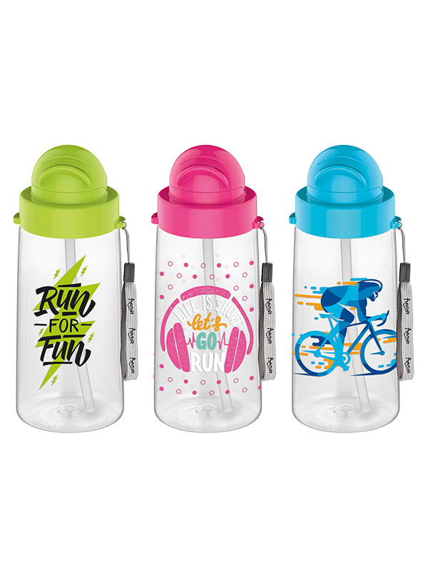 Migo 500 cc Decorated Water Bottle With Straw