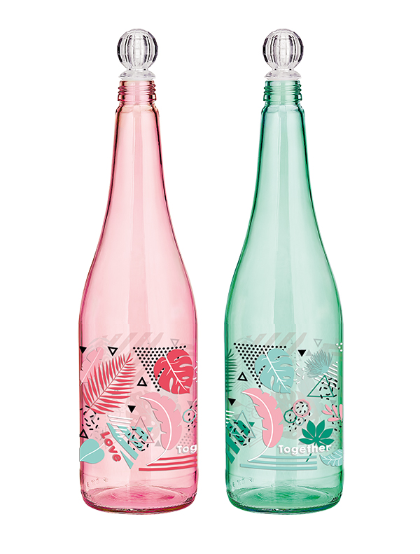 Tropik Coloured & Decorated Glass Bottle 1lt