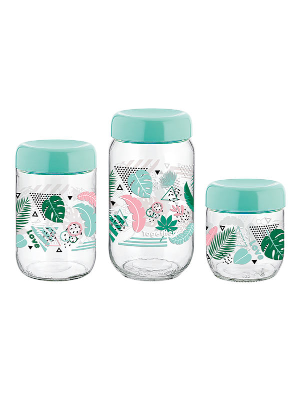 Tropik Decorated Glass Jar Set 425cc, 660cc, 1000cc