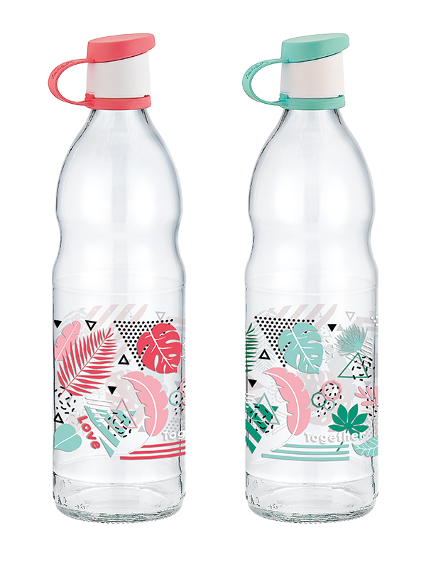 Tropik Decorated Glass Water Bottle 1lt